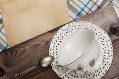 Vintage teacup and saucer Stock Photography
