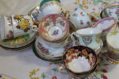 Vintage teacups and saucers Royalty Free Stock Images