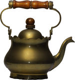 Vintage Teapot. Made of bronze and wooden handle Stock Photography