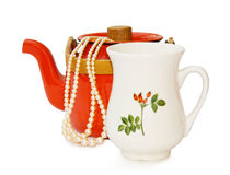 Vintage teapot and milk jar with clipping path Royalty Free Stock Photos