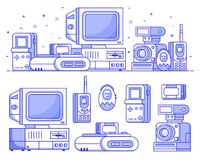Vintage Tech and Electronic Devices Set. Vintage 90s technology icons. Nineties multimedia electronic entertainment gadgets icon set with camera, old computer Royalty Free Illustration
