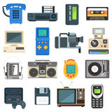 Vintage technologies camera phone retro audio icon vector set. Stock Image