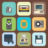 Vintage technologies vector retro audio multimedia entertainment old electronic gadget communication illustration. Royalty Free Stock Images