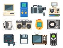 Vintage technologies vector retro audio multimedia entertainment old electronic gadget communication illustration. Stock Photo