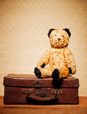 Vintage Teddy Bear. Old vintage teddy bear and old leather suitcase, bygones and memorabilia stock photo