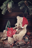 Vintage teddy bear for christmas Royalty Free Stock Image