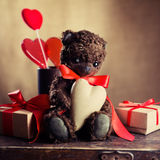 Vintage Teddy Bear with the heart Stock Photography