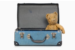 Vintage Teddy Bear in Old School Case Royalty Free Stock Photo