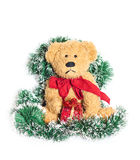 Vintage teddy bear over christmas decoration Stock Image