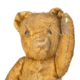 Vintage Teddy Bear Waving over White Stock Photography