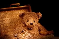 Vintage teddy still life. Bear sitting in a basket Stock Photo