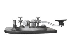 Vintage telegraph key isolated. Vintage telegraph sending straight key.  Isolated on white Royalty Free Stock Photography