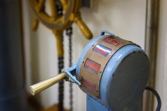 Vintage telegraph machine in ship`s deckhouse Stock Image