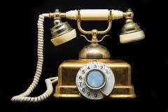 Vintage telephone on black background. Stock Photography