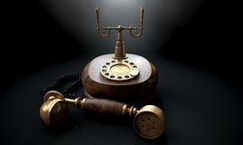 Vintage Telephone Dark Off The Hook Stock Photography