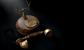 Vintage Telephone Dark Off The Hook Stock Image