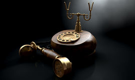 Vintage Telephone Dark Off The Hook Royalty Free Stock Photos