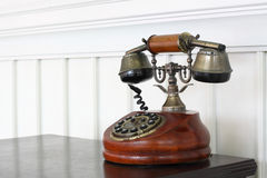 Vintage Telephone On Desk Stock Photo