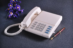Vintage telephone on granite Stock Photo