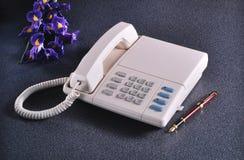 Vintage telephone on granite Stock Photo