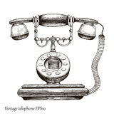 Vintage telephone hand drawing engraving style,Retro phone Initi. Al communication device Royalty Free Stock Images