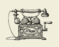 Vintage telephone. Hand-drawn sketch retro phone. Vector illustration Stock Image