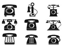 Vintage telephone icons. Vintage telephone silhouettes on white background stock illustration