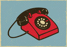 Vintage Telephone. Illustration of a retro telephone with rotary dial in vintage style Stock Images