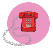 Vintage Telephone No.7, handset on. Illustration is in eps10 vector mode Stock Photo