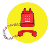 Vintage Telephone No.3, handset off. Illustration is in eps10 vector mode Royalty Free Stock Images