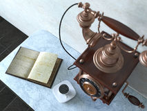 Vintage telephone on old wall with book and coffee cup Stock Image