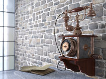 Vintage telephone on old wall Stock Image
