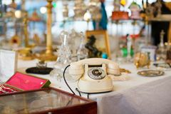 Vintage telephone on Parisian flea market Royalty Free Stock Image