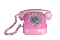 Vintage telephone pink color Royalty Free Stock Image