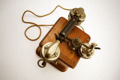 Vintage Telephone from top. A very old phone from the 30s viewed from top stock photos