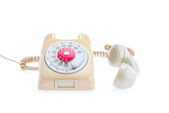 Vintage telephone in use Stock Photo