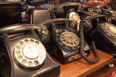 Vintage telephones on the table Royalty Free Stock Photos
