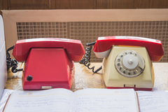 Vintage telephones on the table Stock Image