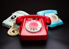 Vintage telephones on white Royalty Free Stock Images