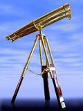 Vintage telescope,. Against a blue sky stock photo
