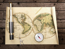 Vintage telescope on antique map Stock Image