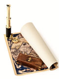 Vintage telescope and compass at antique map Royalty Free Stock Image