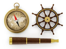 Vintage telescope, ship wheel and compass Stock Image