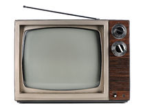 Vintage Television. With antenna isolated over white background - With clipping path Royalty Free Stock Photography