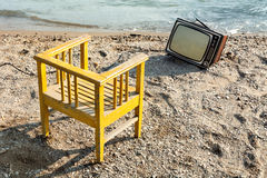 Vintage television on beach Royalty Free Stock Photography
