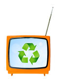 Vintage television with blue sky and recycle sign, clipping path. Eco friendly concept Royalty Free Stock Photos