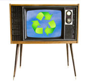 Vintage television with blue sky and recycle sign. eco friendly Royalty Free Stock Images