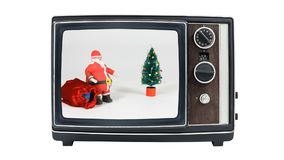 Vintage Television with Claymation Santa stock video