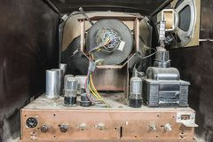 Vintage Television Inside View. View inside dirty grungy vintage 1950s tube television set royalty free stock images