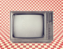 Vintage television isolate on Red checkerboard pattern , Stock Photos